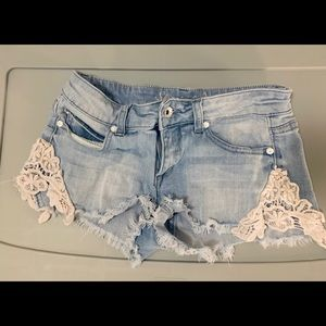 Jean Shorts with Lace Design